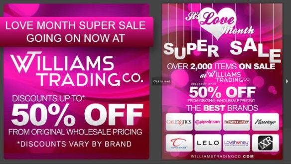 Williams Trading Co Valentine's Day Love Month Specials