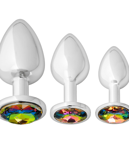 Jeweled Silver Chromed Anal Plugs