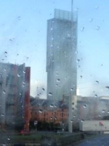 Hilton Hotel through the Manchester rain !