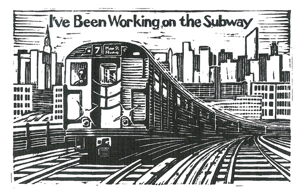 Book cover illustration and design for the New York Transit Authority - linocut
