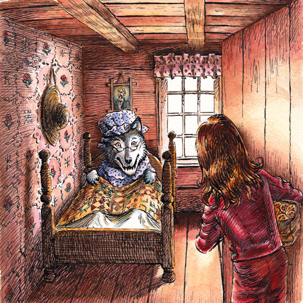 Illustrations for an audio book 'Little Red Riding Pants' - pen and ink, watercolour