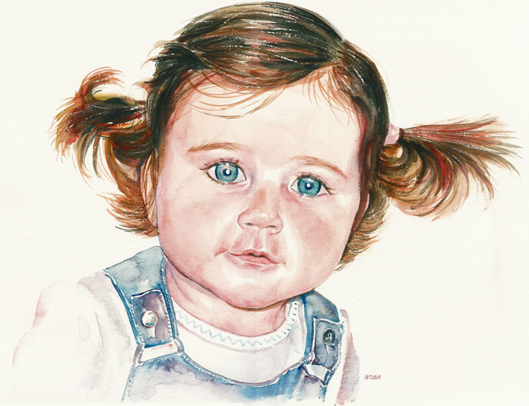 Naomi, aged 2, personal project - watercolour on paper