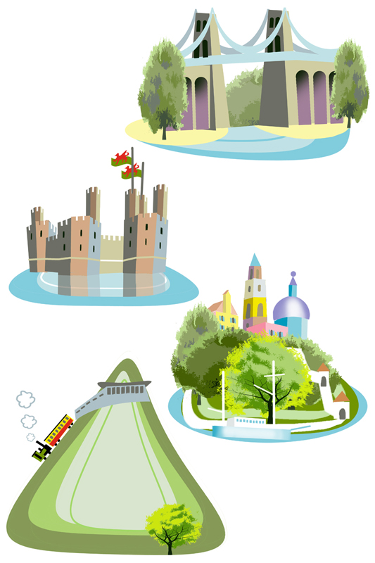 Quirky illustrations for Welsh brochure - Adobe Photoshop