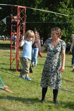 A tightrope workshop with Mrs Bullzini - concentrate!
