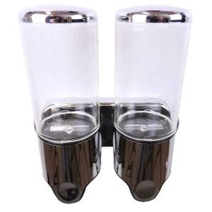 Dubbele zeep dispenser transparant met chroom 2 x 400 ml