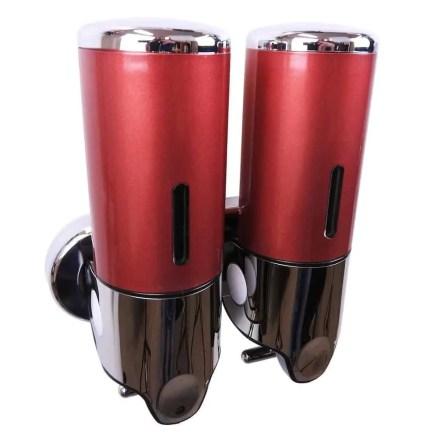Dubbele zeep dispenser rood met chroom 2 x 400 ml