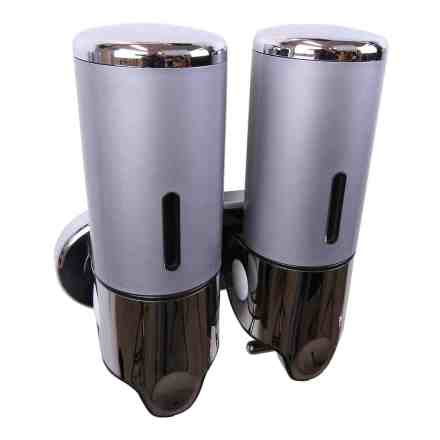 Dubbele zeep dispenser grijs met chroom 2 x 400 ml