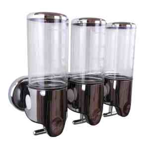 Triple zeepdispenser transparant met chroom 3 x 400 ml