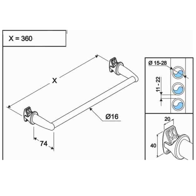 WillieJan Radiator handdoekenrek 940W - Wit - 1 stang - 36 cm - Radiatorbevestiging - Zonder boren