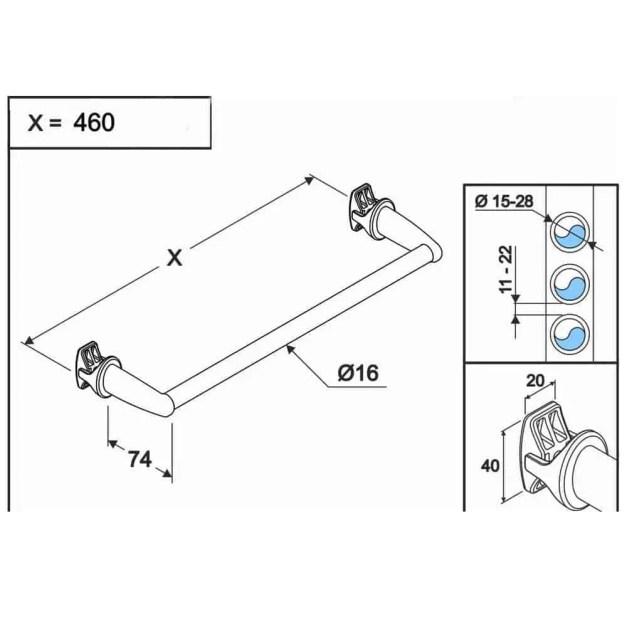 WillieJan Radiator handdoekenrek 950W - Wit - 1 stang - 46 cm - Radiatorbevestiging - Zonder boren