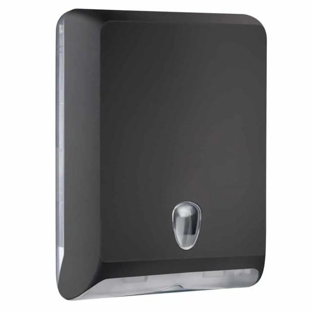 Marplast papieren handdoekjes dispenser A83010ENE - Zwart - capaciteit - 600 vel - voor Z, C en V gevouwen handdoekjes
