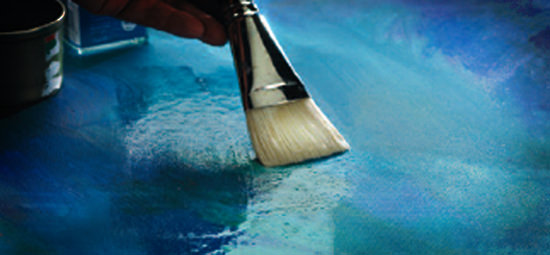 Clear coat on a canvas painting