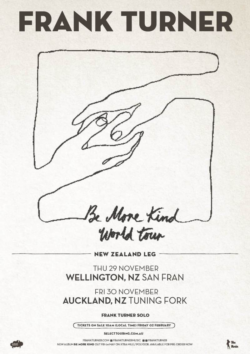 Frank Turner NZ Be More Kind Poster