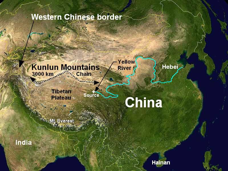 East Asia Kunlun Mts Map