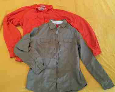 Columbia (rose) & Craghoppers (olive) safari shirts