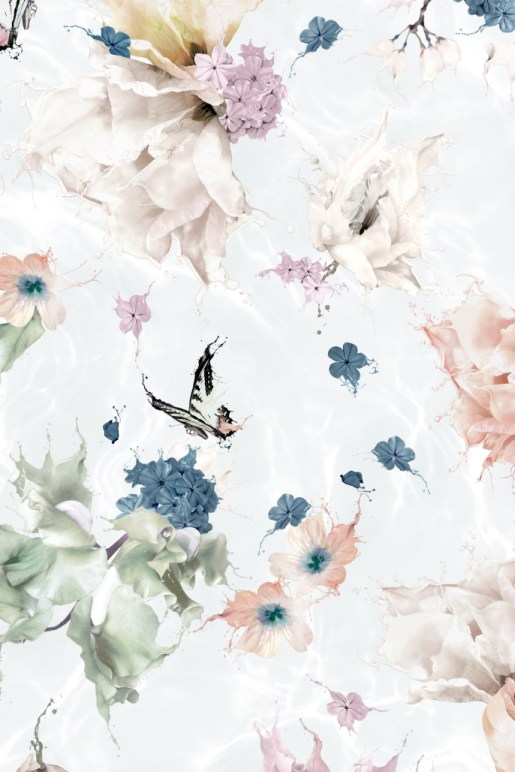 This is a beautiful Interior Wallpaper of Flowers, butterflies and Dragonflies. It is a custom made wall mural and features a statement, unique design from Australia. Printed onto luxury high quality Vinyl wall covering that is easy to install and easy to remove. This romantic design shows florals floating down into a pool of water. It has a touch of surrealism and fantasy!