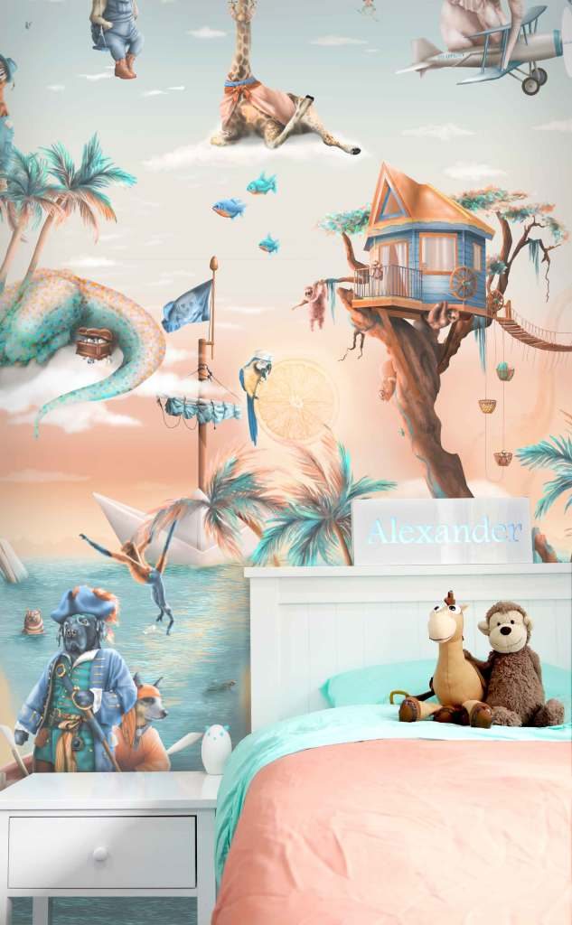 Custom Tropical Jungle Kids wallpaper wall mural with animals