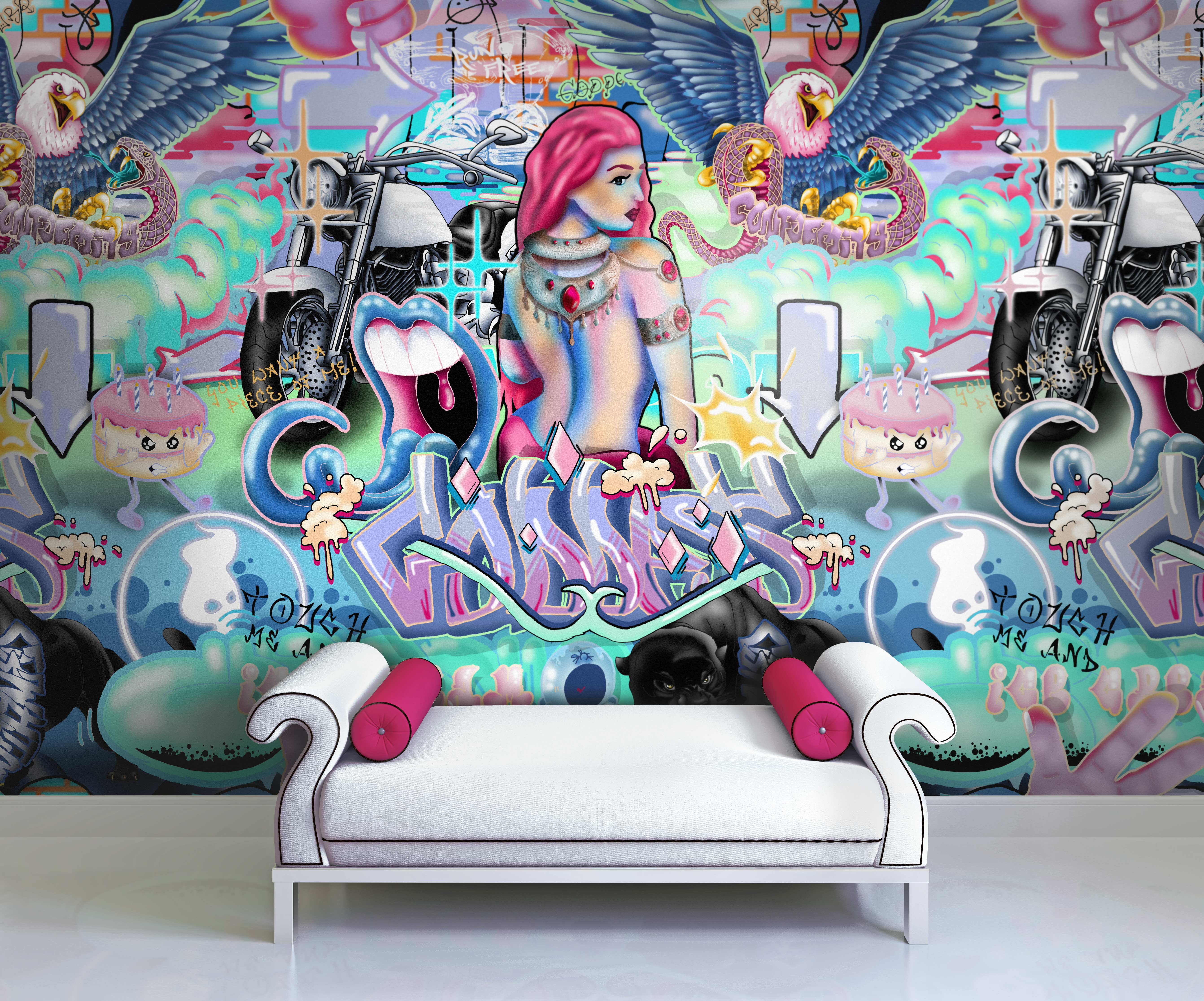 This is a funky and cool interior wall covering. It is perfect for a teenage girl or fashing dressing room. This custom wall mural wallpaper comes in pop neon colours of aqua, pink and blue. It has a graffiti and pop art style