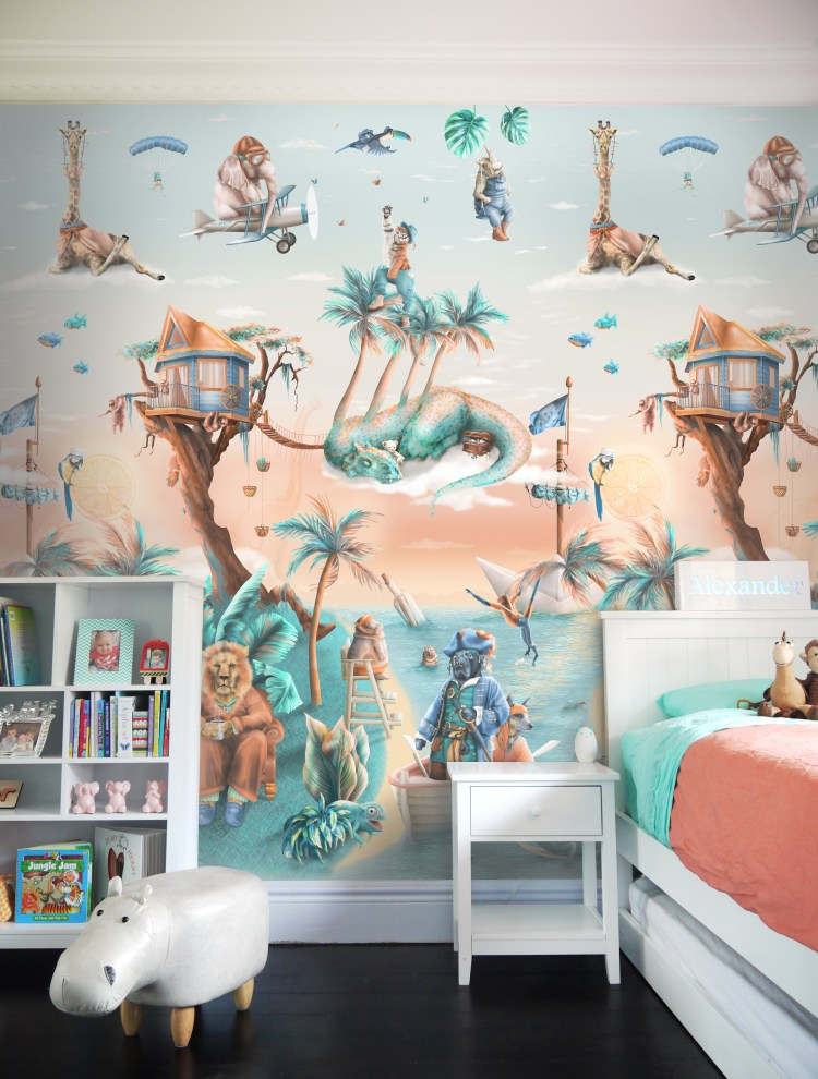 Statement Custom Tropical jungle animal wall mural wallpaper for kids