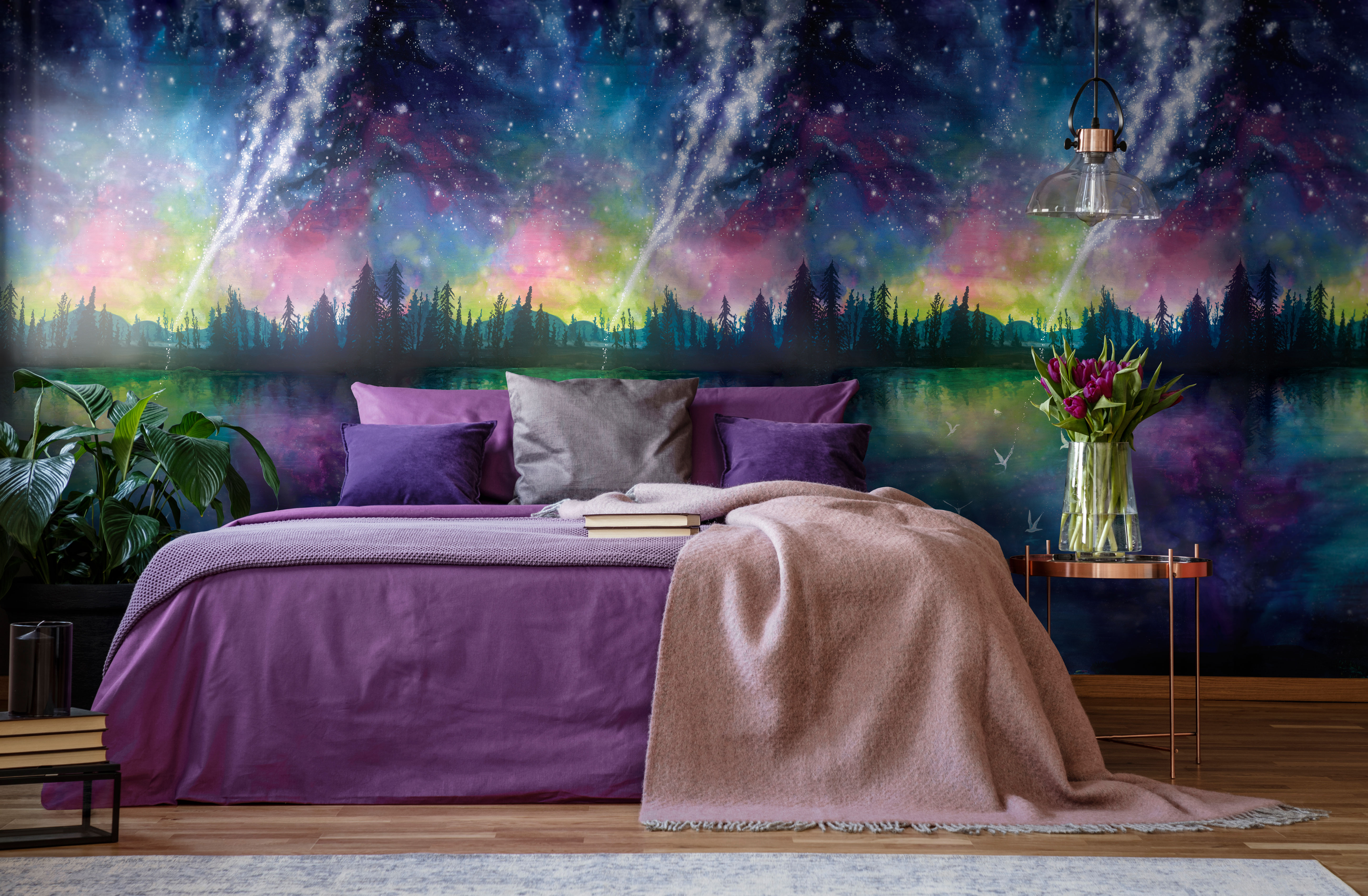 night statement watercolour galaxy interior wall mural wall paper