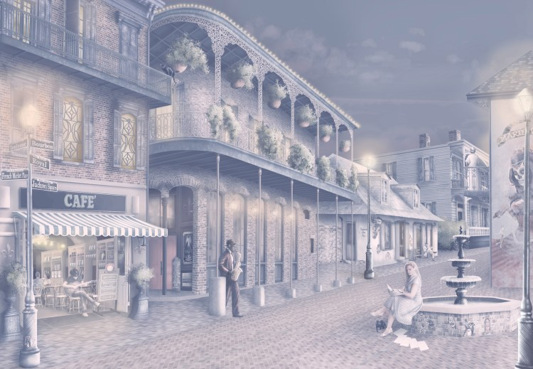 Wallpaper in warm navy-blue, cream, beige, purple, pink.  A romantic Wallpaper design set in the streets of New Orleans at night withs lights. Featuring musicians, voodoo art, cafes and more.