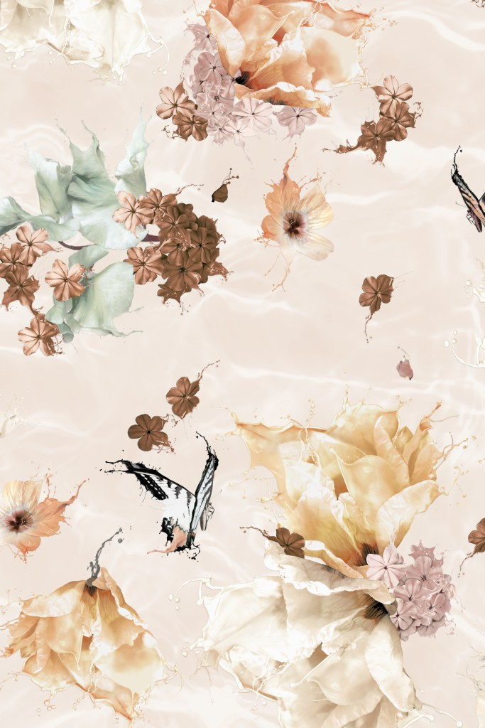 Close up detail section of 'Submerse - Dusty Rose' wallpaper. Features a floral and butterfly design for interior walls with a surrealist twist! In colours of earth tones of taupe, copper, rust, cream, pink, browns and rustic colours tone with sage green.