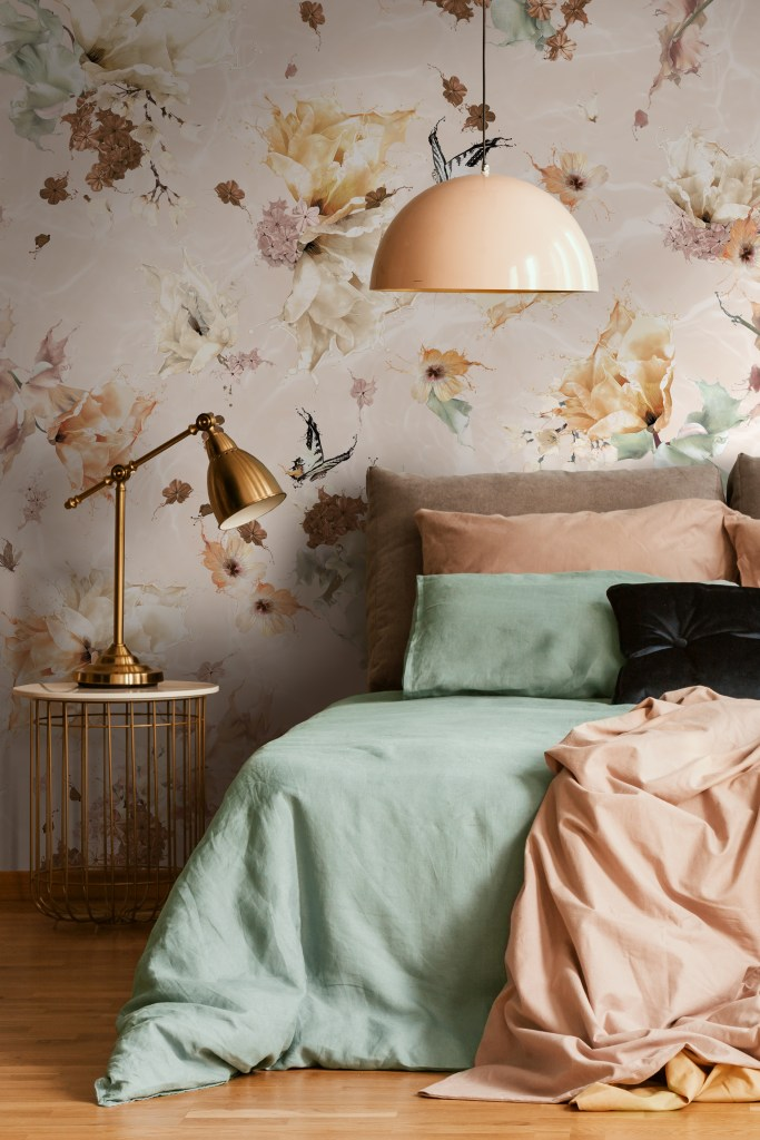Earth tone and rustic colours Interior Wallpaper Design. Luxury wallpaper from Sydney Australia. Features flowers florals, butterflies, dragonflies with a unique and beautiful twist. Colours of warm brown, pink, yellow, sage green, white.