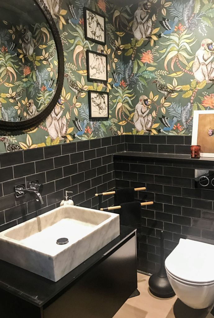 Savuti unique wacky tropical monkey wallpaper by cole-and-son.com installed in a bathroom