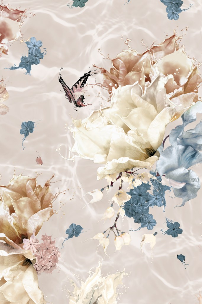 Close up detail section of 'Submerse - Warm Blue' wallpaper. Features a floral and butterfly design for interior walls with a surrealist twist! In colours of earth tones of taupe, copper, rust, cream and rustic colours tone with steel blue.