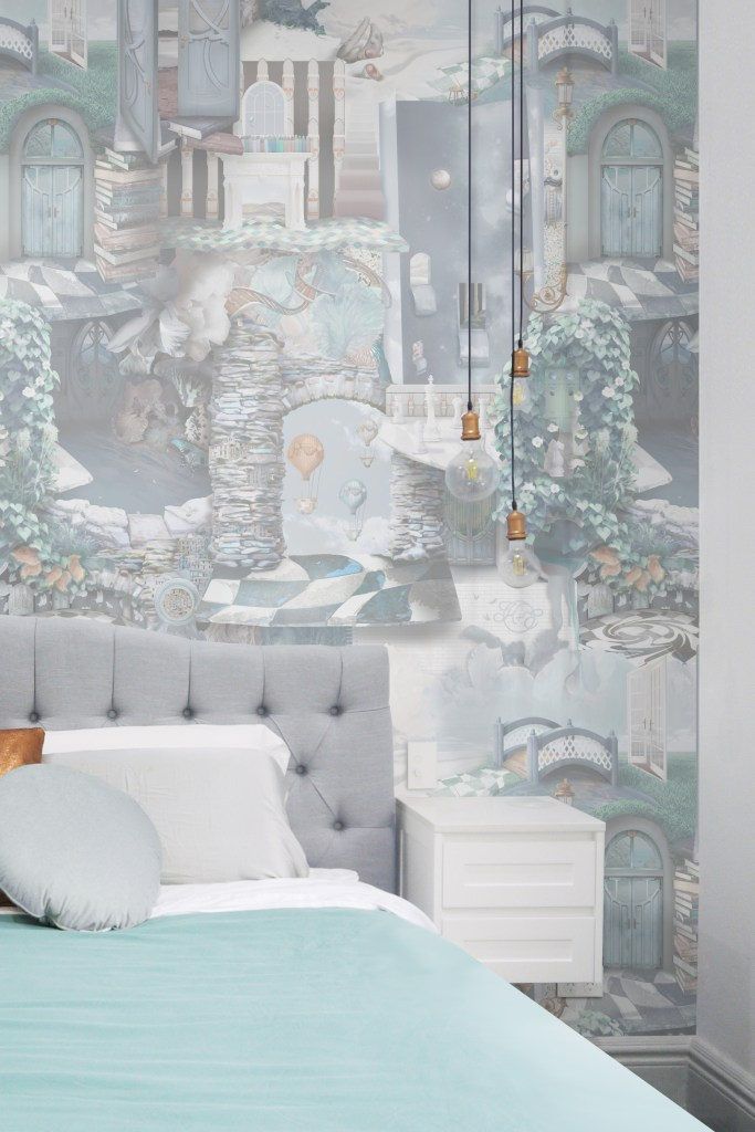 A beautiful and unique designer statement interior decorating wallpaper wall mural inspired by Alice In Wonderland. Featuring stones, tiles, doors, florals, vines, books and more! Styled with a heron grey bed, turquoise queen bed cover, copper feature lighting, floating bedside tables.