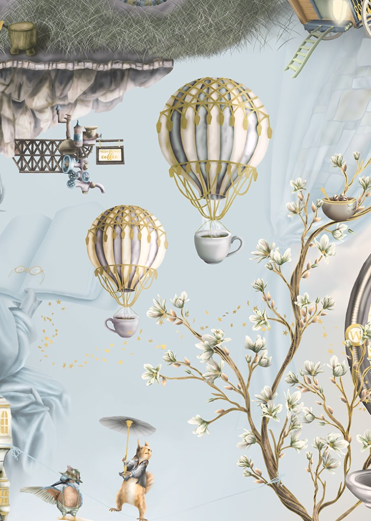 Flying hot coffee section of fairytale interior wallpaper design mural, king fisher, squirrel, sky