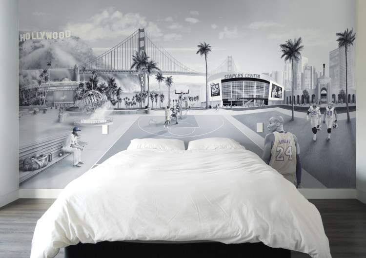 Custom wallpaper and murals Australia. This is a custom Los Angeles wall Mural wallpaper design from australia. It features tributes to sport such as baseball, basketball, football themes. Including Kobe Bryant, Clayton Kershaw, Aaron Donald, Jalen Ramsey, Staples centre, dodgers. los angeles coliseum, Down town LA, Golden Gate Bridge, Hollywood sign. Man cave wallpaper