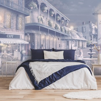 Street Cafe Lights romantic New Orleans wall mural Wallpaper. in navy blue