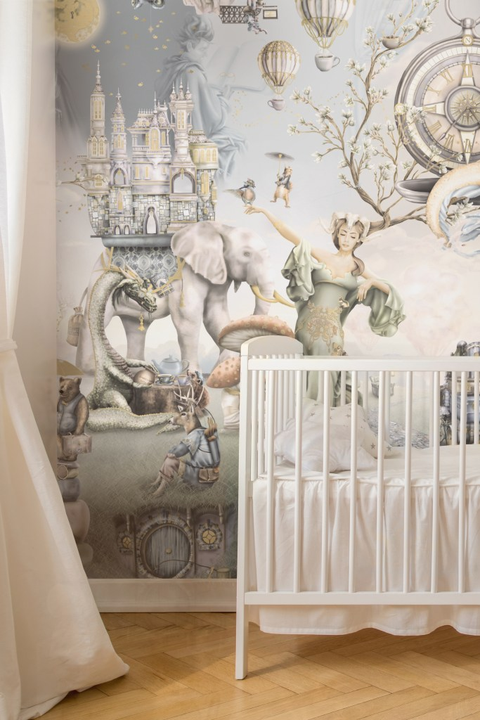 Stunning boys vintage nursery room in beige, gold, cream and warm colours. Featuring incredible boys fairy tale nursery wallpaper - heavy duty vinyl with easy to install paste the wall application.