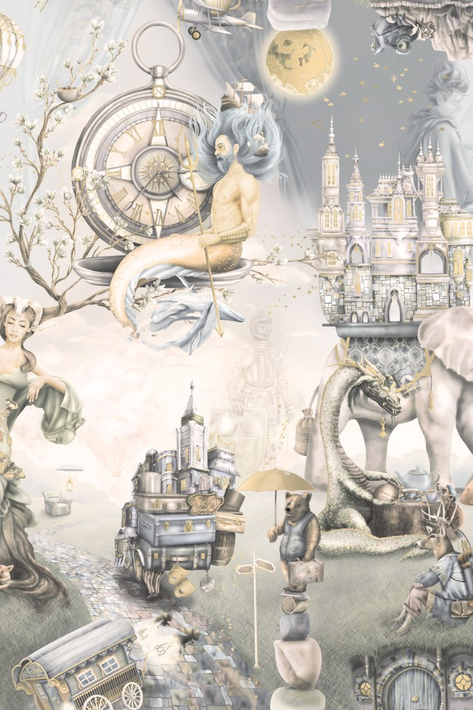 Amazing kids boys interior nursery or bedroom wallpaper wall murals - in washed out vintage colours in a warm tone. Incredibly illustrated in a story book format/
