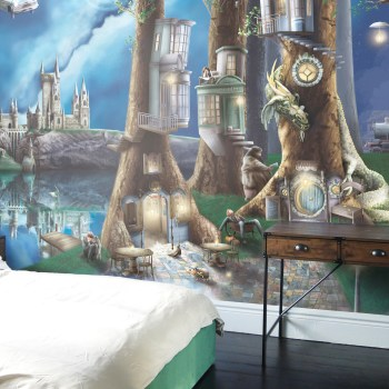 Amazing Harry Potter Inspired Custom Bedroom Wallpaper, featuring Hogwarts castle, the forbidden forest, flying car, time turner, dragon, hogwarts express, ron, harry, hermione, diagon alley inspired buildings.