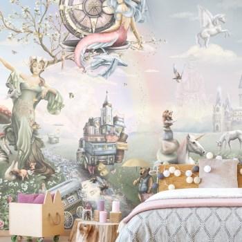 Fantasy Mural Girls Wallpaper, unicorns, mermaids, bedroom, pastel, rainbow