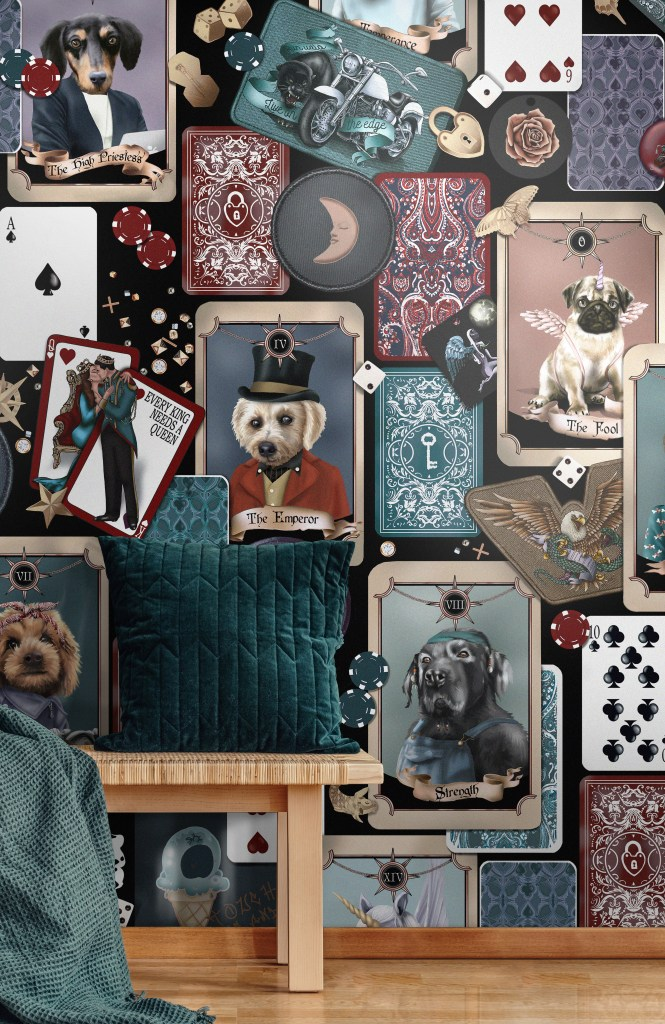 Pooch portrait Poker interior dog faces wallpaper statemnent quirky