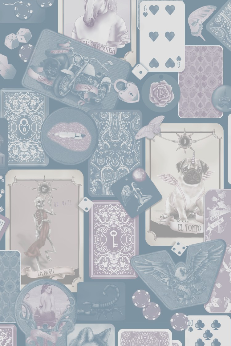 Custom bedroom wallpaper - colours can be changed. Featuring skulls, tarot cards, playing cards, poker, rock n roll badges and more