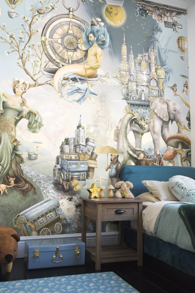 Kids boys woodland forest wallpaper bedroom wall mural of forest fantasy animals, dragons and other creatures