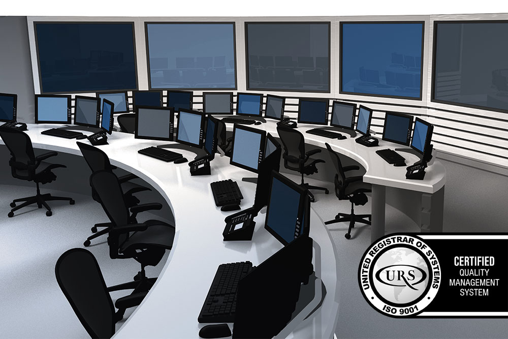 Control room with ISO 9001 badge over it