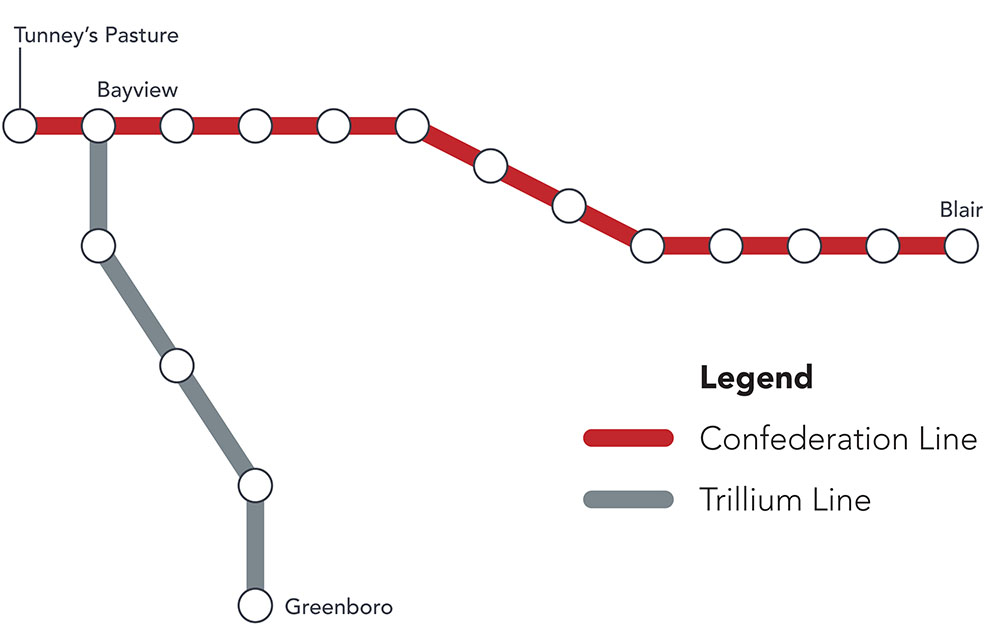 OLRT Current Train Map showing two lines: Confederation Line and the Trillium Line