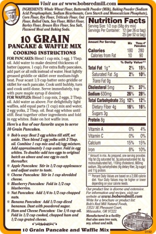 Bob's Red Mill 10 Grain Pancake & Waffle Mix - LABEL BACK