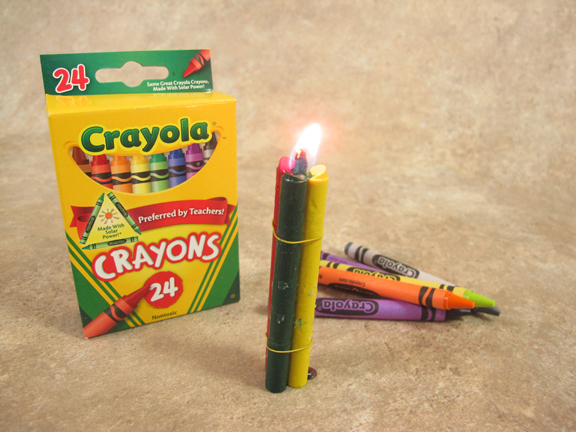 Three Crayons - No Paper - Wired tight around cotton fiber wick
