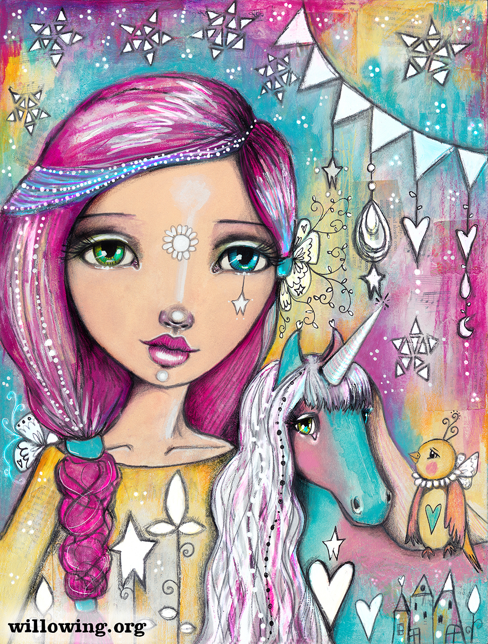 Unicorn Girl Pictures : unicorn, pictures, Unicorn, Print, Willowing