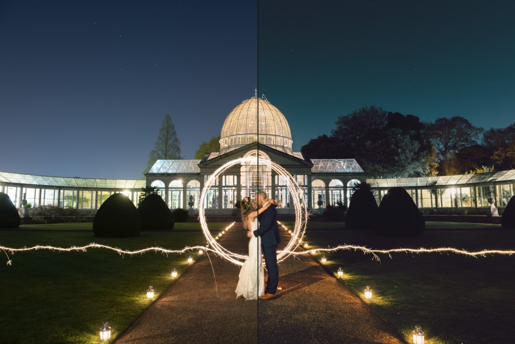 Syon Park wedding sparkler portrait before and after