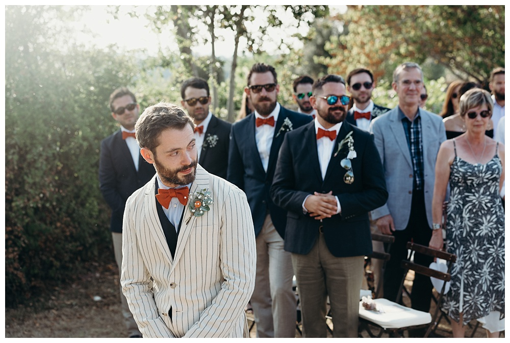 groom sees bride for the first time italian wedding tuscany villa catignano