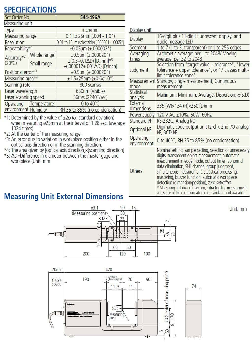 Mitutoyo Laser Scan Micrometer LSM-902/6900 .004-1.00