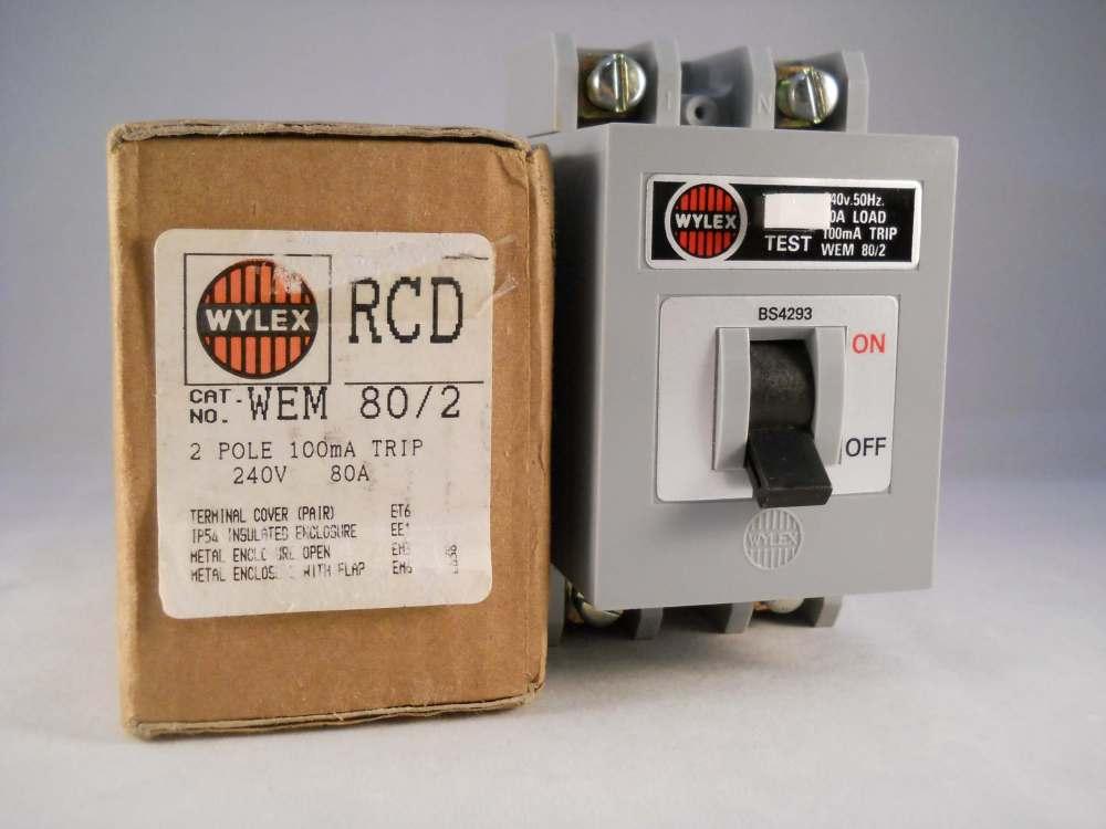medium resolution of wylex rcd 80 amp 100ma double pole 80a rcd trip wem 80 2 wem80 2wylex fuse