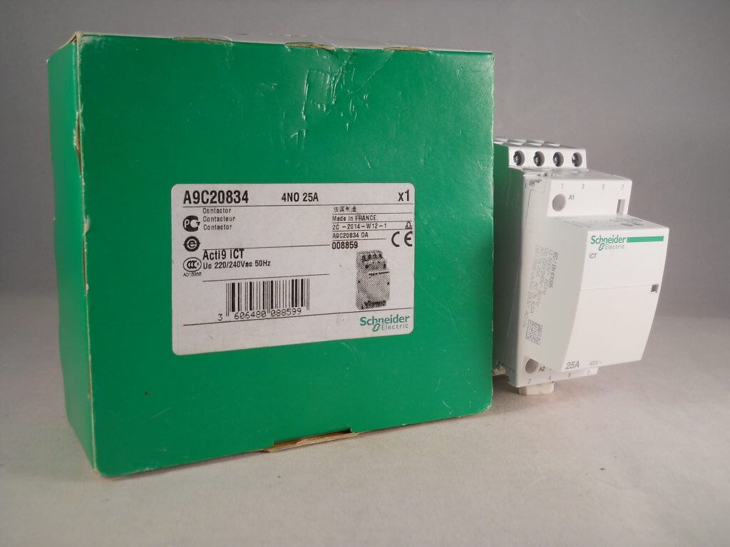 schneider ict 25a contactor wiring diagram honeywell heat only thermostat 25 amp 4 pole 240vac coil n o acti 9